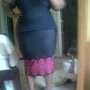 black and pink long pencil skirt